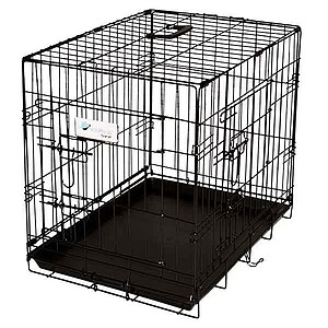 ValuPlanet Metal Dog Crate, Black Epoxy Two Door, Large - 36 inch